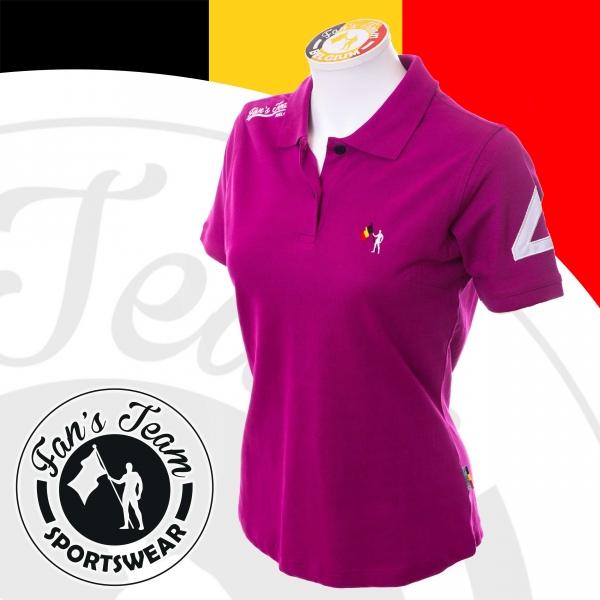 Polo Belgium   Sportswear polo lila de la marque Fan s Team - Vêtement  sportswear femme   Achetez votre tenue sport   chic en ligne 072af334061